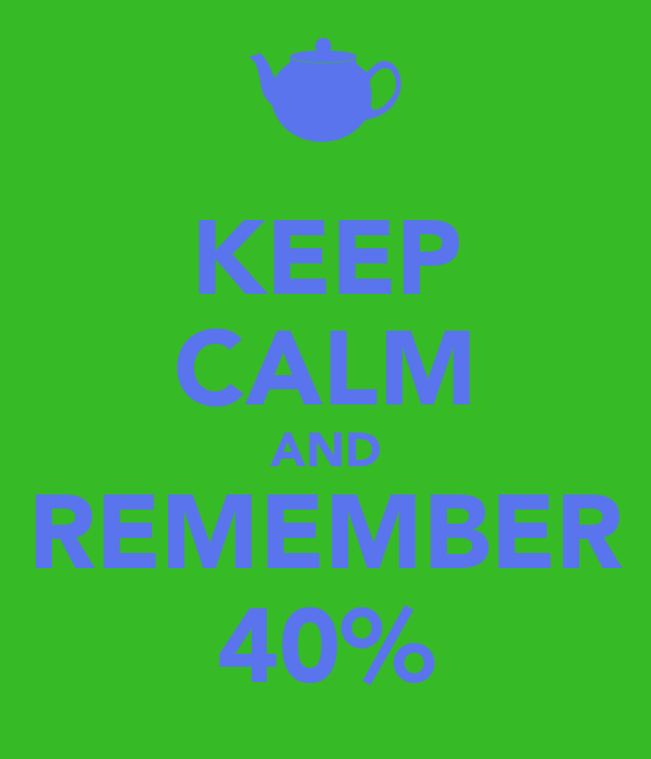 KEEP CALM AND REMEMBER 40%