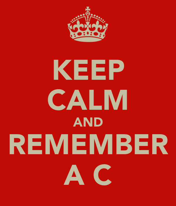 KEEP CALM AND REMEMBER A C