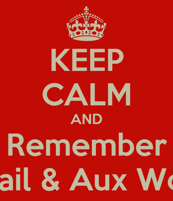 KEEP CALM AND Remember Avail & Aux Work