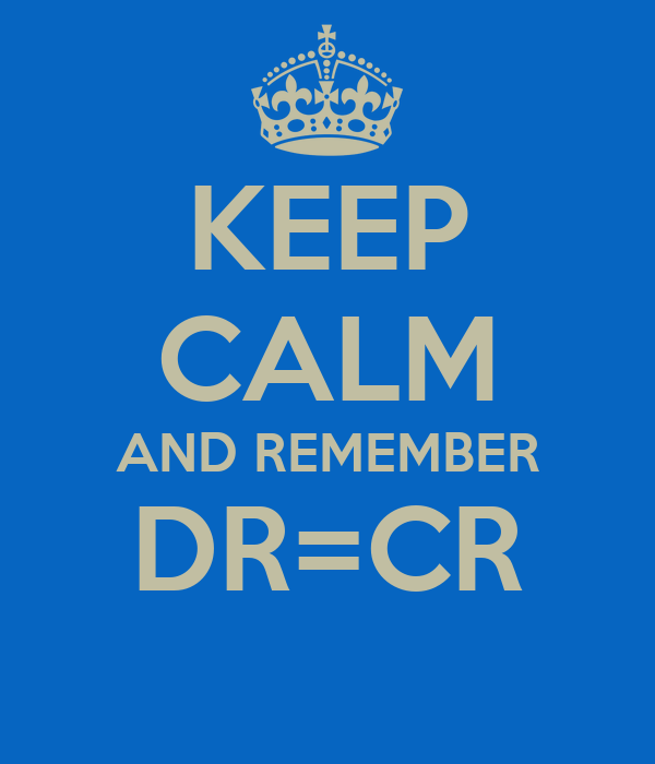 KEEP CALM AND REMEMBER DR=CR