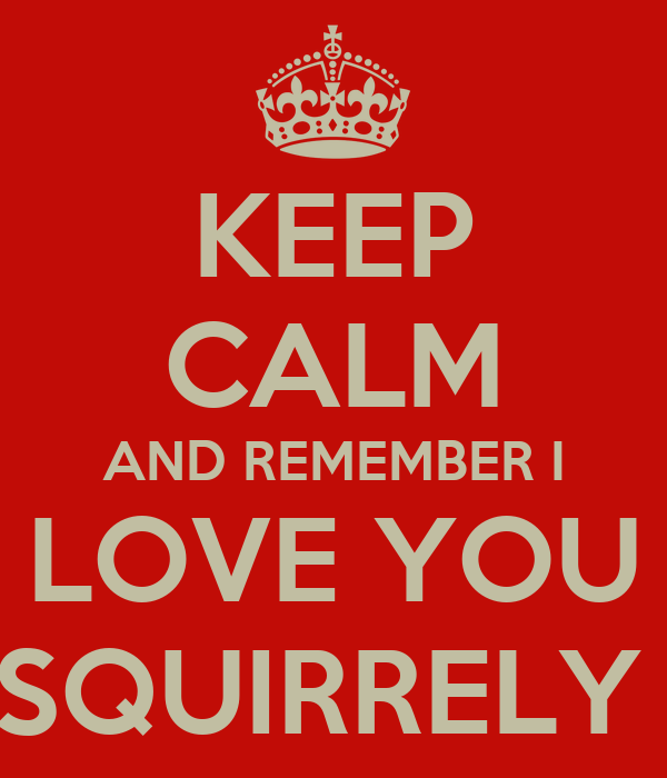 KEEP CALM AND REMEMBER I LOVE YOU SQUIRRELY