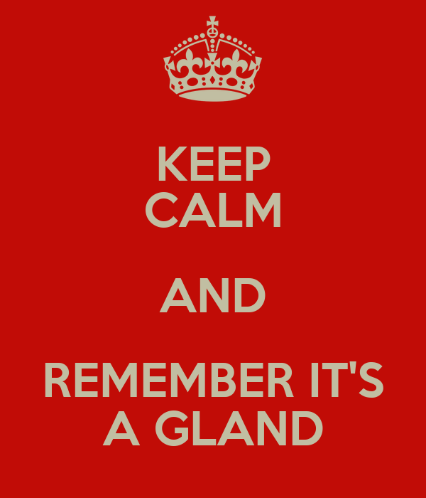 KEEP CALM AND REMEMBER IT'S A GLAND