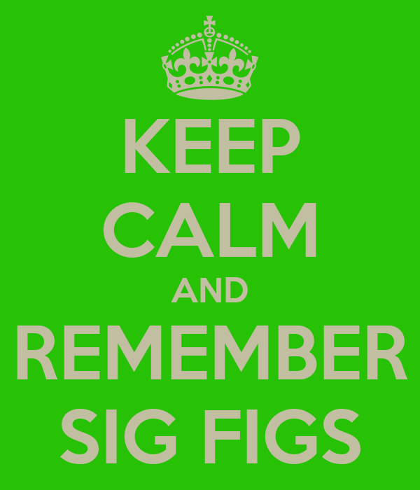 KEEP CALM AND REMEMBER SIG FIGS