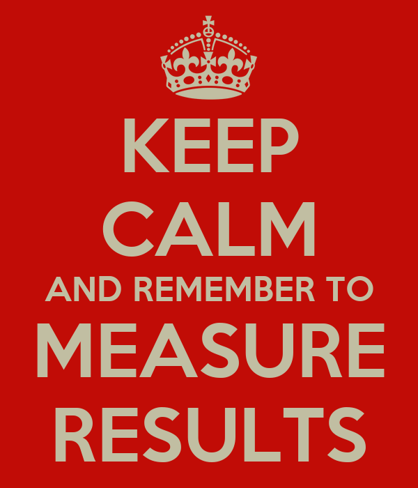 KEEP CALM AND REMEMBER TO MEASURE RESULTS