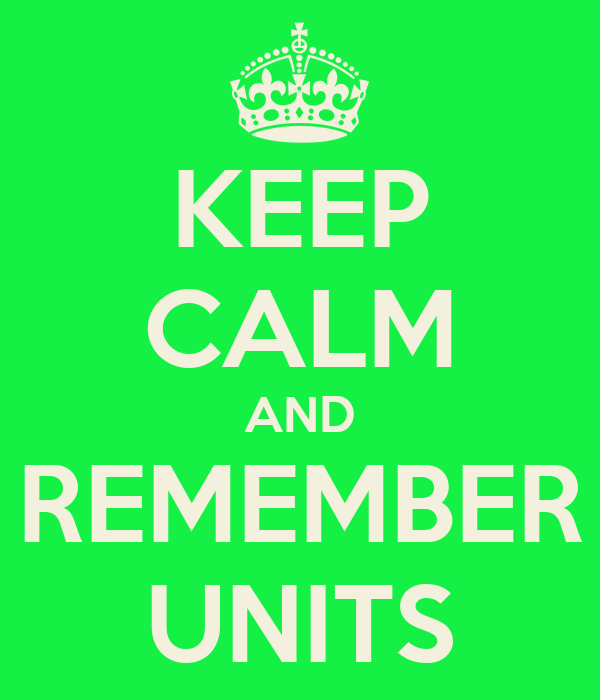 KEEP CALM AND REMEMBER UNITS