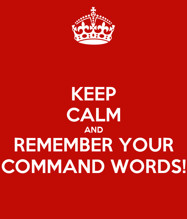 KEEP CALM AND REMEMBER YOUR COMMAND WORDS!