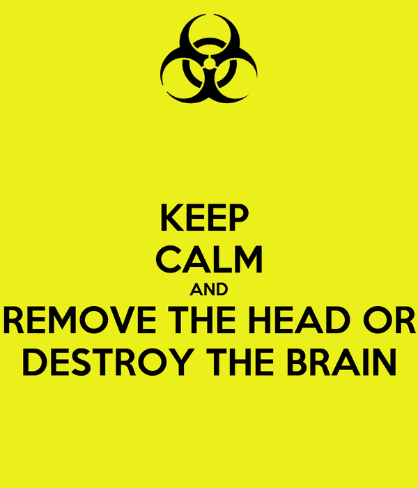 KEEP  CALM AND REMOVE THE HEAD OR DESTROY THE BRAIN