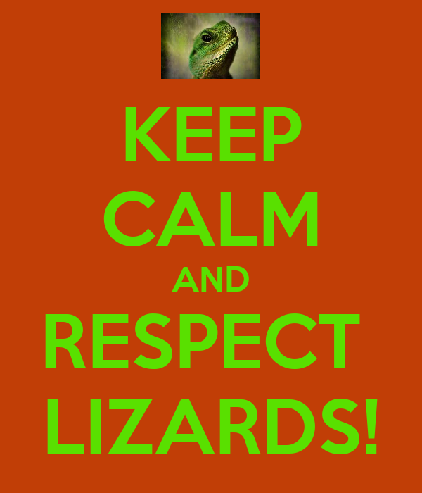 KEEP CALM AND RESPECT  LIZARDS!