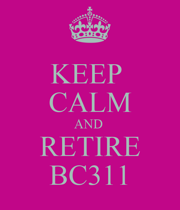 KEEP  CALM AND  RETIRE BC311