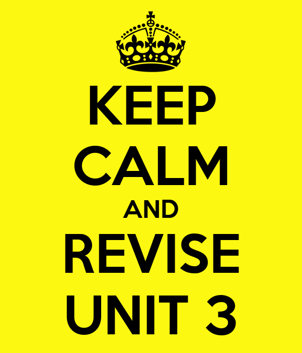 KEEP CALM AND REVISE UNIT 3