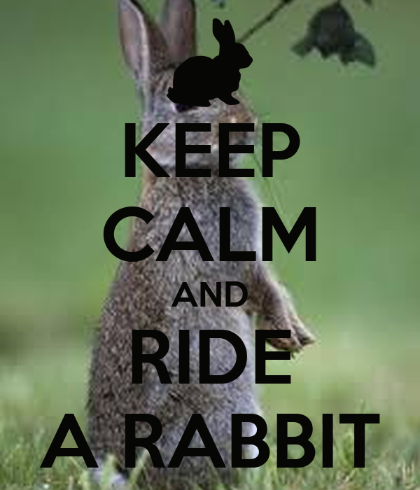 KEEP CALM AND RIDE A RABBIT
