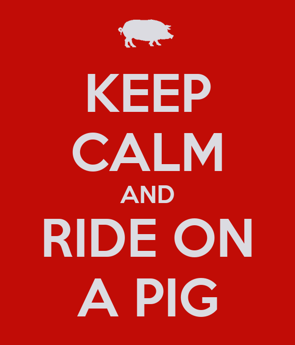 KEEP CALM AND RIDE ON A PIG