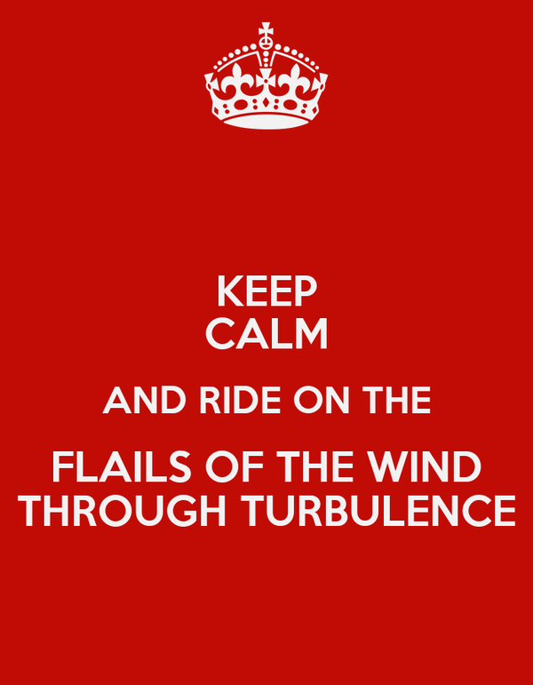 KEEP CALM AND RIDE ON THE FLAILS OF THE WIND THROUGH TURBULENCE