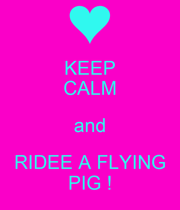 KEEP CALM and RIDEE A FLYING PIG !