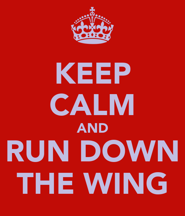 KEEP CALM AND RUN DOWN THE WING
