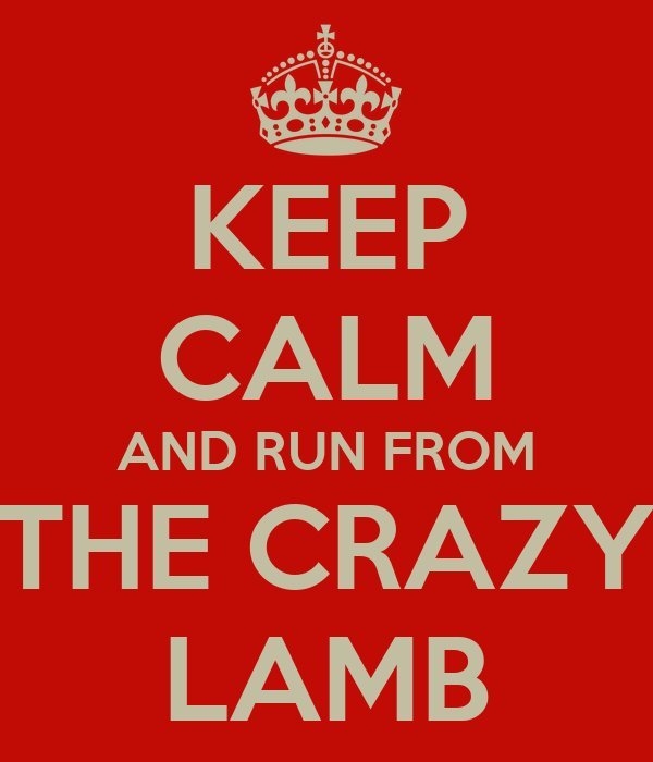 KEEP CALM AND RUN FROM THE CRAZY LAMB
