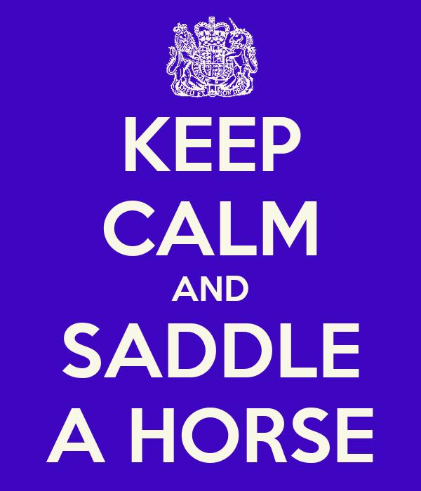 KEEP CALM AND SADDLE A HORSE