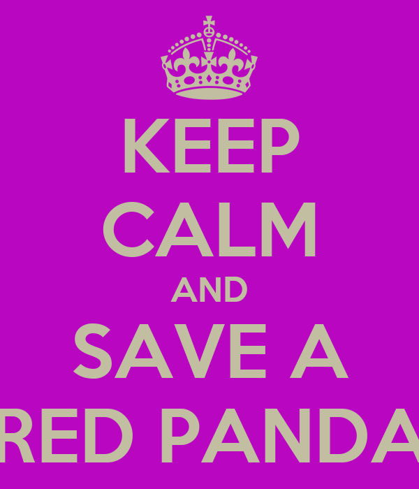 KEEP CALM AND SAVE A RED PANDA