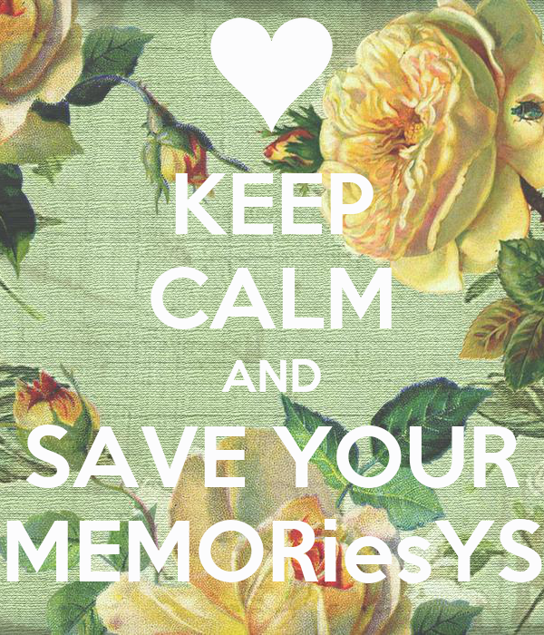 KEEP CALM AND SAVE YOUR MEMORiesYS