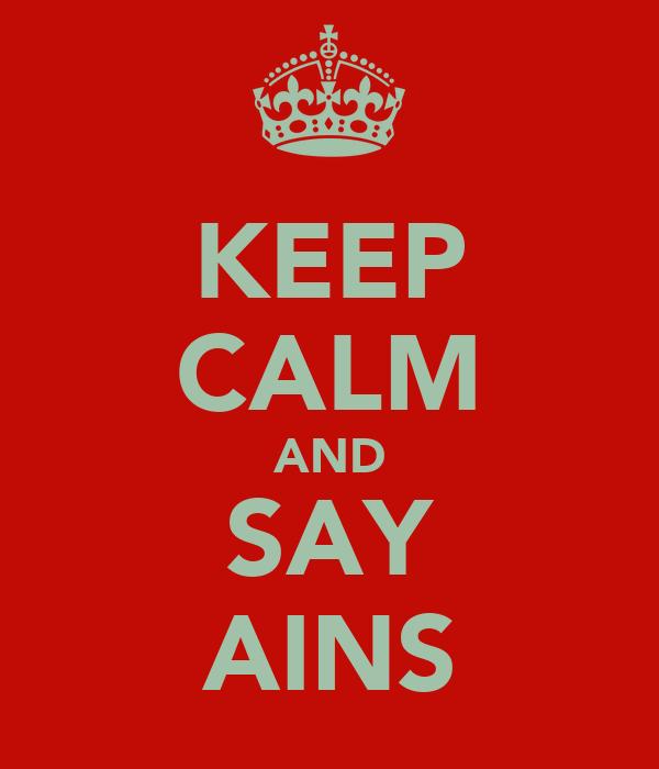 KEEP CALM AND SAY AINS