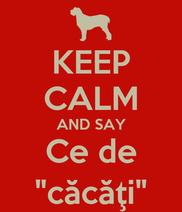 "KEEP CALM AND SAY Ce de ""căcăţi"""