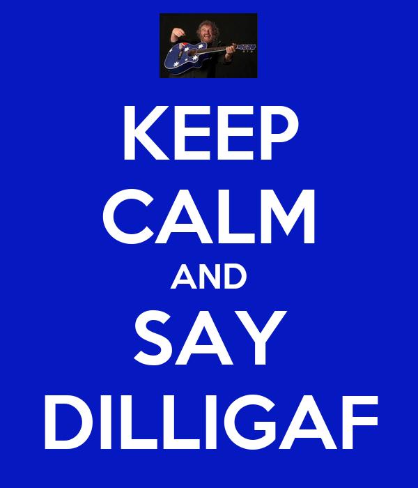 KEEP CALM AND SAY DILLIGAF