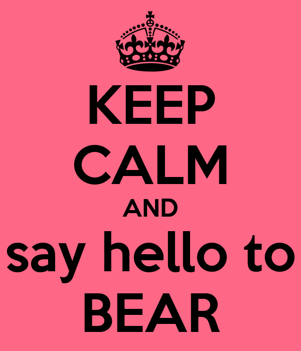 KEEP CALM AND say hello to BEAR