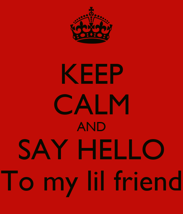 KEEP CALM AND SAY HELLO To my lil friend