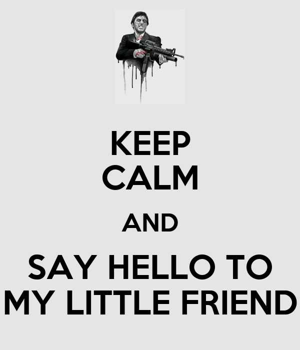 KEEP CALM AND SAY HELLO TO MY LITTLE FRIEND