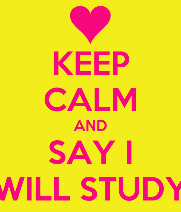 KEEP CALM AND SAY I WILL STUDY