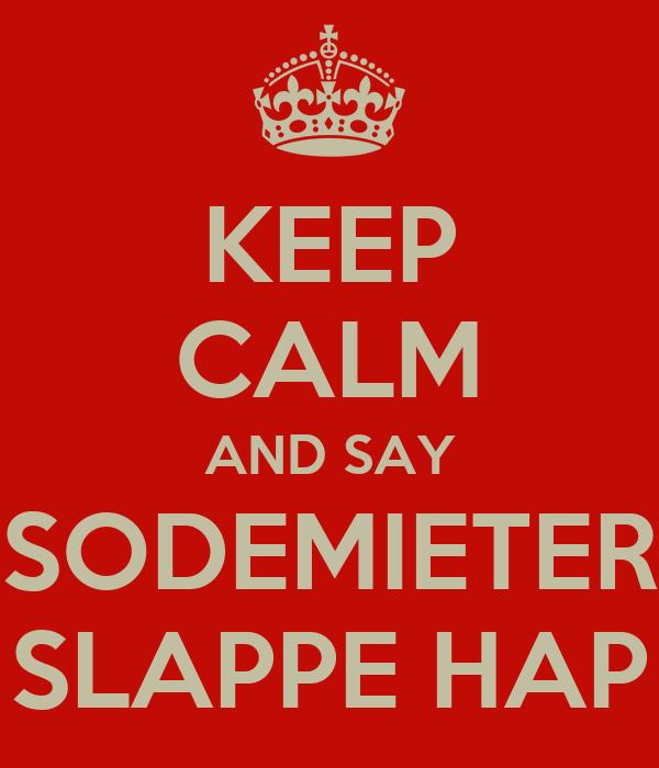 KEEP CALM AND SAY SODEMIETER SLAPPE HAP