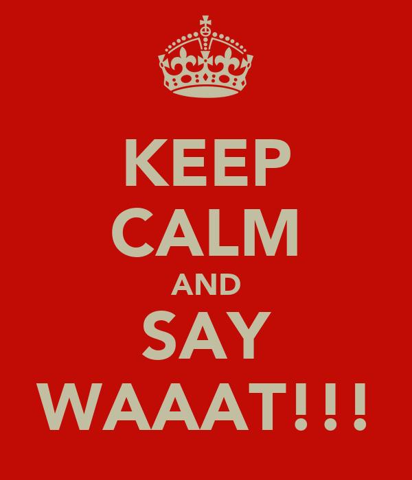 KEEP CALM AND SAY WAAAT!!!