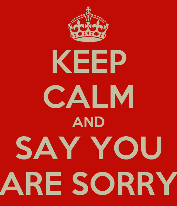 KEEP CALM AND SAY YOU ARE SORRY