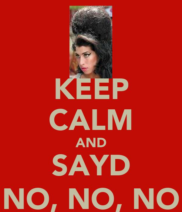 KEEP CALM AND SAYD NO, NO, NO