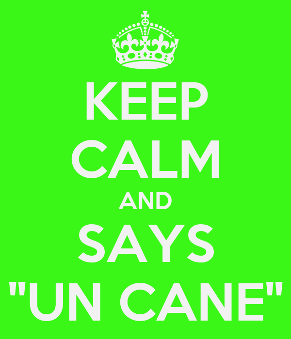 "KEEP CALM AND SAYS ""UN CANE"""