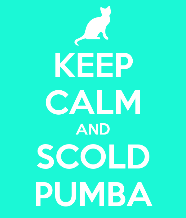 KEEP CALM AND SCOLD PUMBA