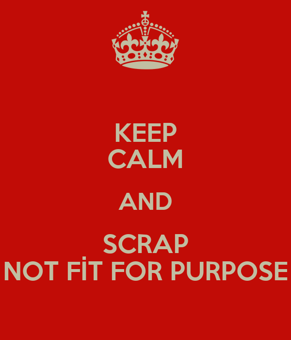 KEEP CALM AND SCRAP NOT FİT FOR PURPOSE