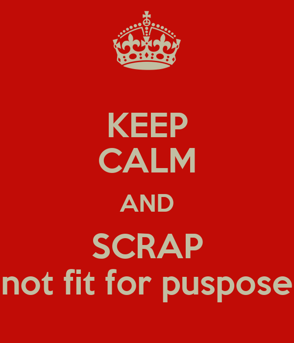 KEEP CALM AND SCRAP not fit for puspose