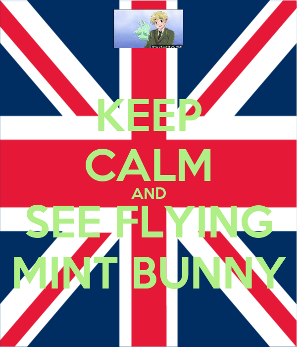 KEEP CALM AND SEE FLYING MINT BUNNY