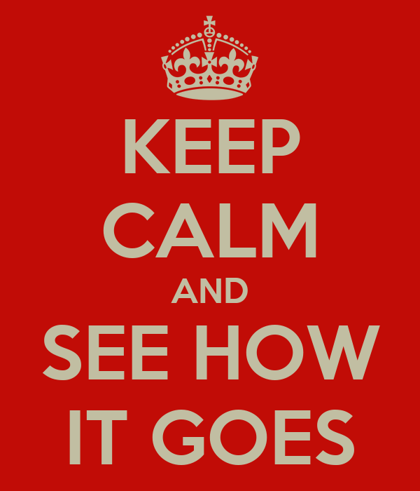 KEEP CALM AND SEE HOW IT GOES