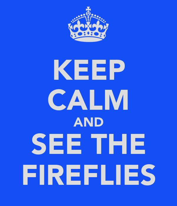 KEEP CALM AND SEE THE FIREFLIES