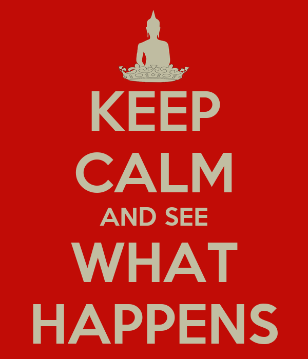KEEP CALM AND SEE WHAT HAPPENS