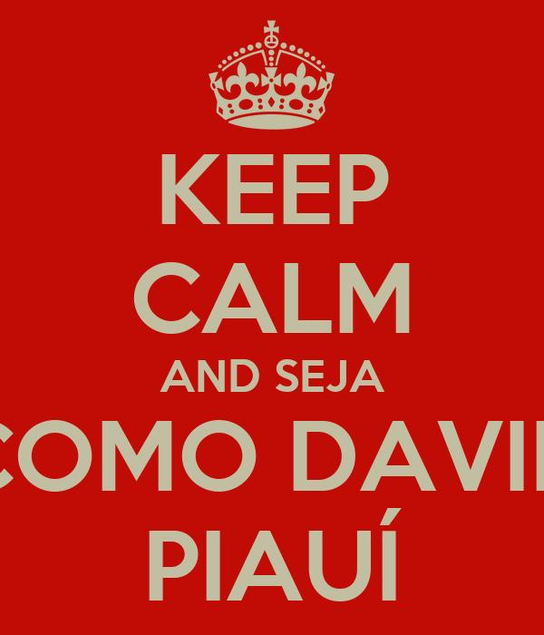 KEEP CALM AND SEJA COMO DAVID PIAUÍ