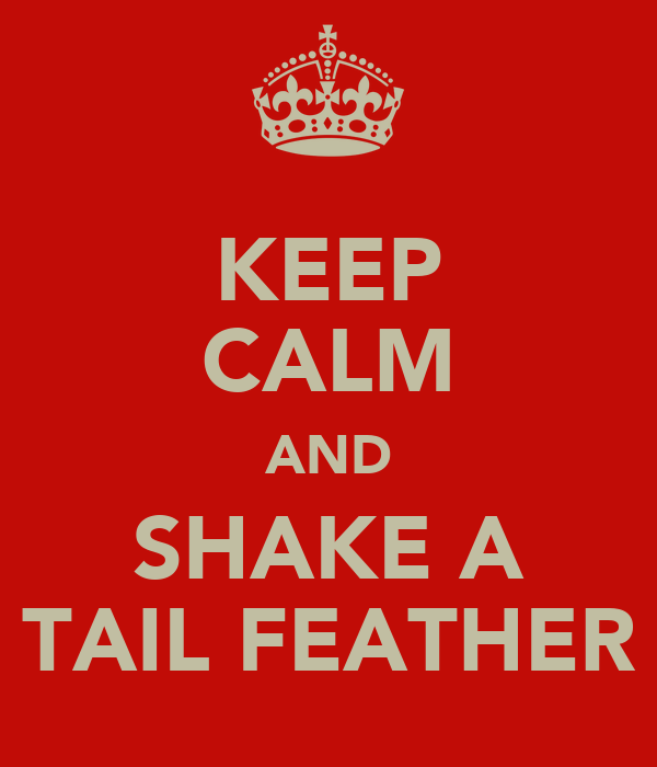 KEEP CALM AND SHAKE A TAIL FEATHER