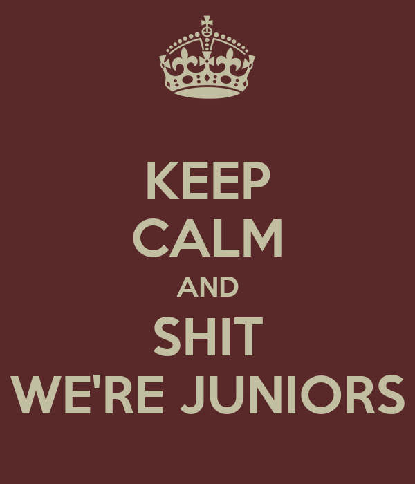 KEEP CALM AND SHIT WE'RE JUNIORS