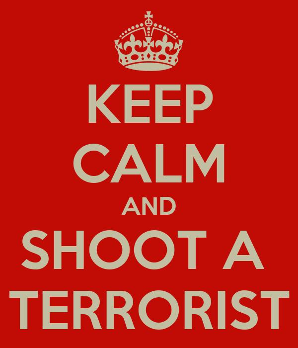 KEEP CALM AND SHOOT A  TERRORIST