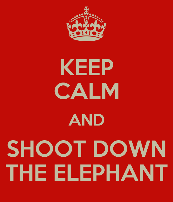 KEEP CALM AND SHOOT DOWN THE ELEPHANT