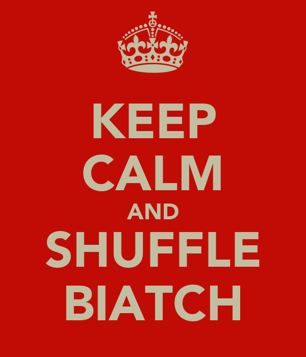 KEEP CALM AND SHUFFLE BIATCH