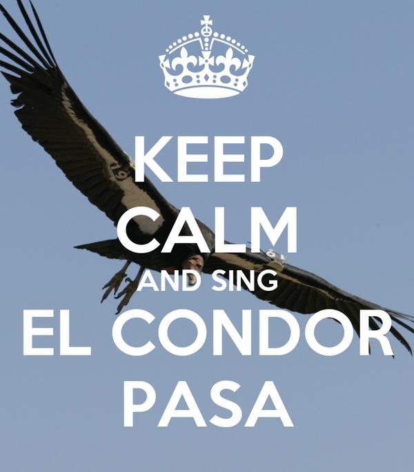 KEEP CALM AND SING EL CONDOR PASA