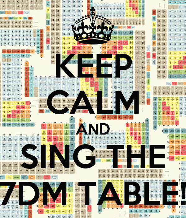 KEEP CALM AND SING THE 7DM TABLE!
